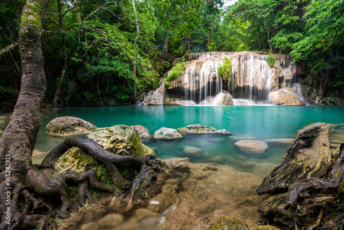 Recess Fitting Waterfalls Waterfall in Thailand name Erawan in forest at Kanchanaburi provience