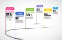Milestones Company, Timeline Infographic, Vector.