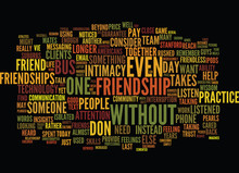 THE NEED FOR FRIENDSHIP AND COMMUNITY Text Background Word Cloud Concept