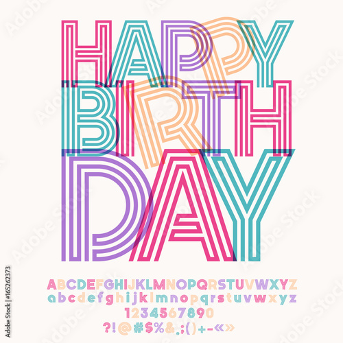 Bright Banner With Text Happy Birthday Vector Set Of Colorful