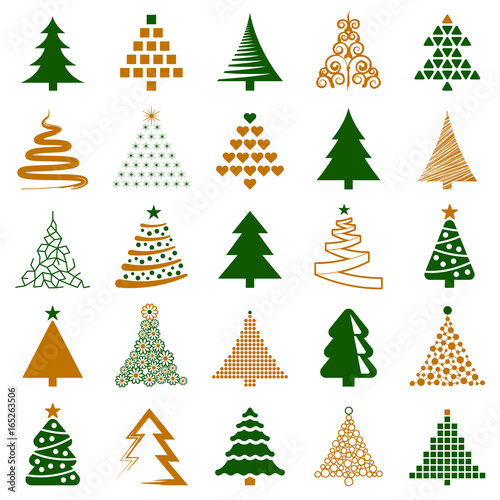 Poster  Christmas tree icon collection - vector illustration