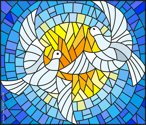 Obraz na plátně  Illustration in stained glass style with a pair of white doves on the background