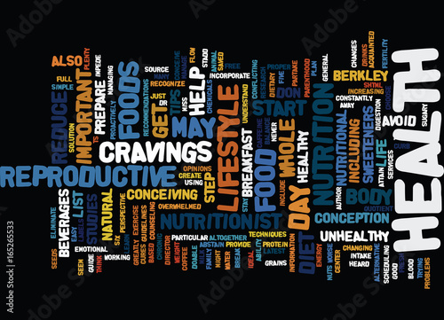 Photo THE EFFECTS OF DIET ON INFERTILTIY Text Background Word Cloud Concept