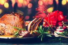 Festive Christmas Table With Backed Ham And Decoration , Front View