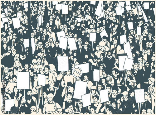 Photo  Illustration of protesting crowd with blank signs and banners in color