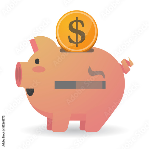 Isolated  piggy bank with a cigarette Poster