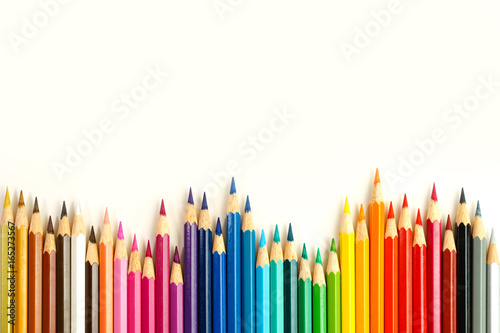 Photo  Complete set of coloring pencils with white background