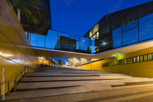 Stairs And Glass Bridge In Aachen, Germany At Night Canvas Print