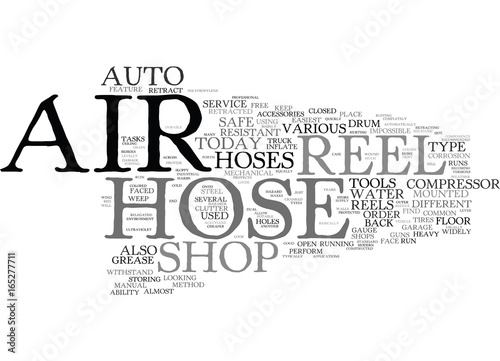 Fotografie, Obraz  THE AIR HOSE REEL AND THE SAFE AUTO SHOP Text Background Word Cloud Concept