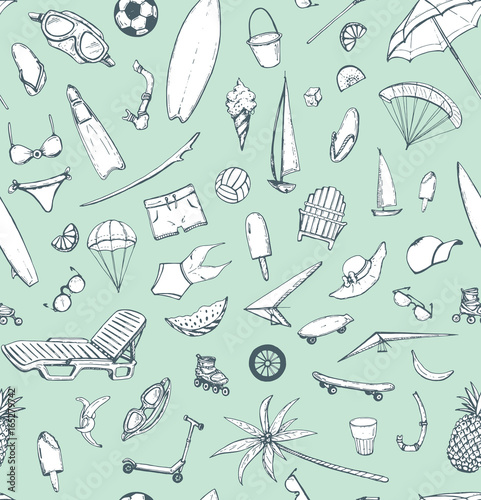 Fototapety, obrazy: hand drawn vector seamless pattern with summer theme: beach, sea, bicycle, swimsuit, diving, serfing