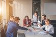 Leinwanddruck Bild Business team with hands together - teamwork concepts