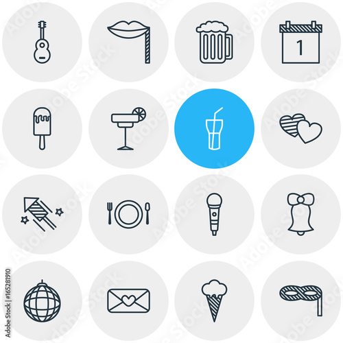 Vector Illustration Of 16 Party Icons Wallpaper Mural