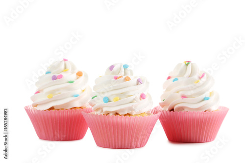Tasty cupcakes isolated on a white Wallpaper Mural