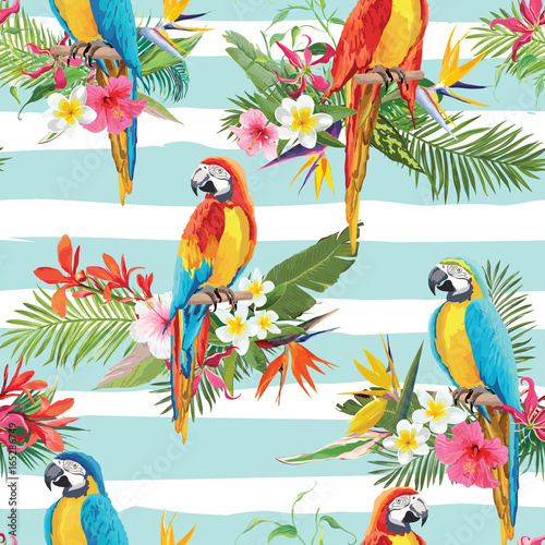 Fotobehang Papegaai Tropical Flowers and Parrot Birds Seamless Background. Retro Summer Pattern in Vector