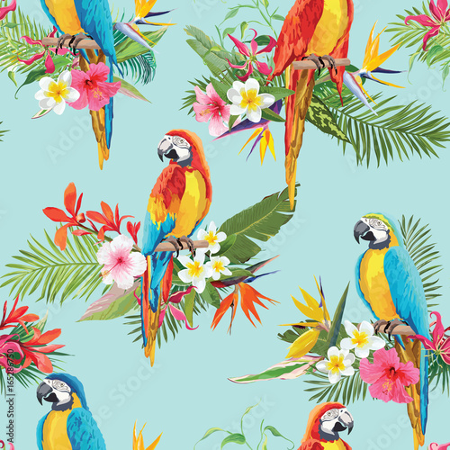 Recess Fitting Parrot Tropical Flowers and Parrot Birds Seamless Background. Retro Summer Pattern in Vector