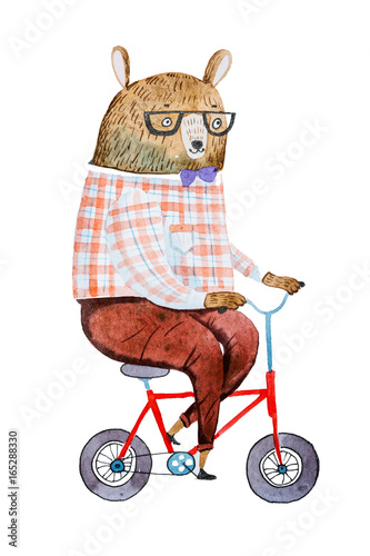 cartoon-bear-dressed-up-in-hipster-clothes-riding-a-bike-drawn-on-white-paper-with-watercolor-technique