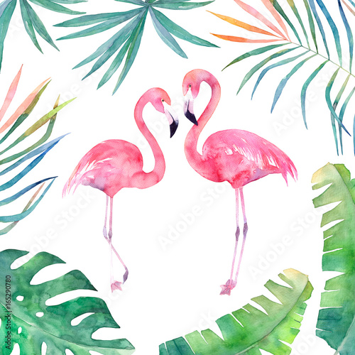 Canvas Prints Flamingo Bird Watercolor card with leaves frame and two flamingos. Hand drawn illustration