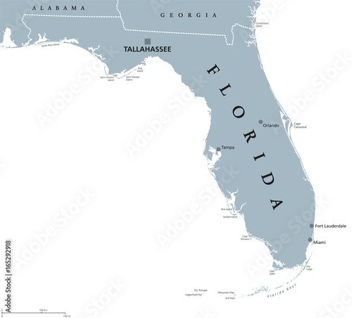 Valokuva  Florida political map with capital Tallahassee