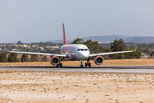 FARO, PORTUGAL - Juny 18, 2017 : EasyJet Flights Aeroplane Departure From Faro International Airport.