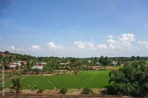 Spoed Foto op Canvas Blauwe hemel ベトナム ラドン県 田舎の風景 山空