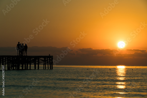 Fotobehang Pier Panorama of sunset or sunrise on the calm sea
