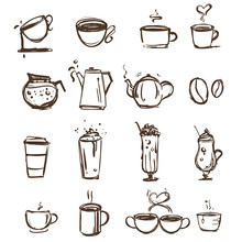 Coffee Cups Symbol Hand-drawn Outline