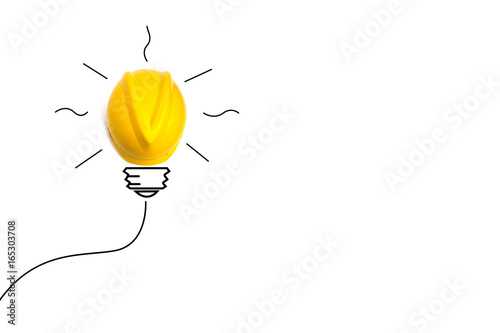 Concept idea with yellow helmet like a light bulb isolate on white background