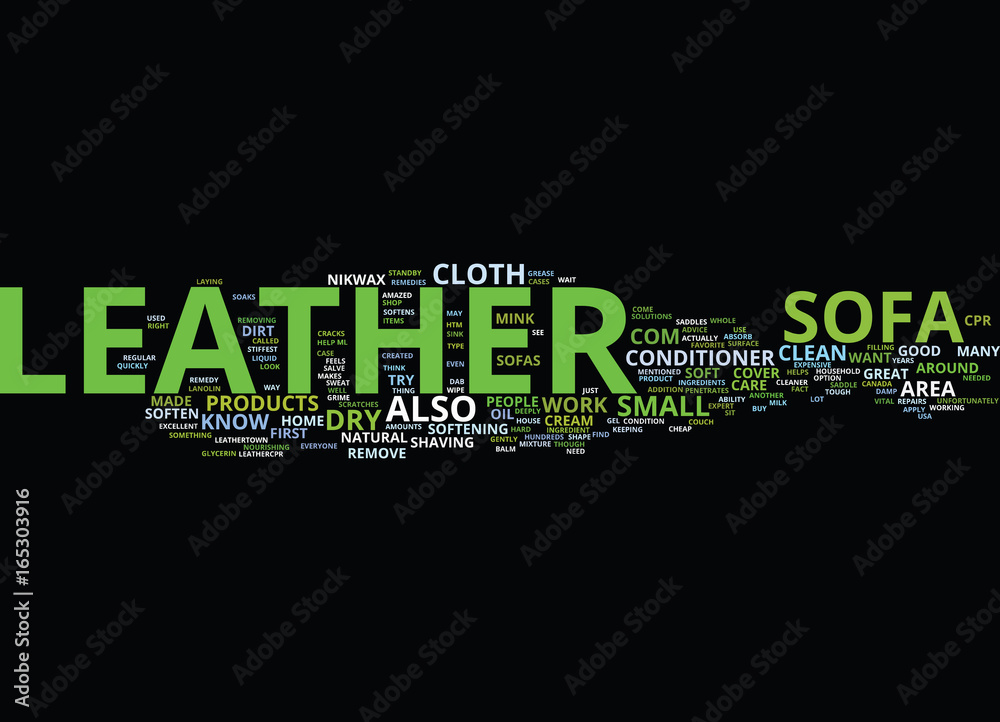 Photo Art Print Leather Sofa Care Text Background Word Cloud