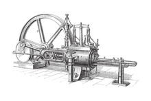 Old Steam Machine - Vintage Illustration