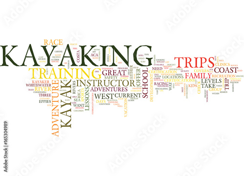 Photo LEARN TO KAYAK ON THE WEST COAST Text Background Word Cloud Concept