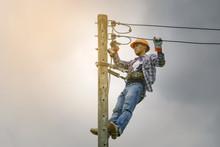 Electrician Climbing Poles, Re...