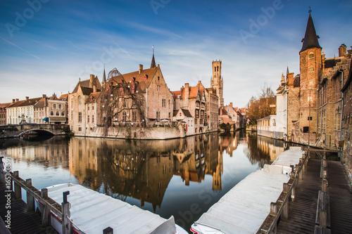 Wall Murals Bridges Scenery with water canal in Bruges,