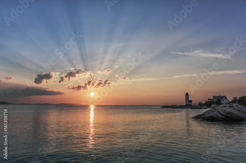 Fotografija Sunbeam Sunset Annisquam Lighthouse