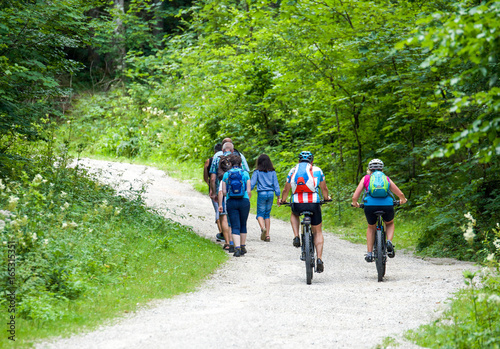 Wanderer und Mountainbiker gemeinsam auf Forststraße Fototapeta