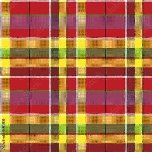 Photo sur Toile Pixel Summer seamless pattern madras check fabric texture
