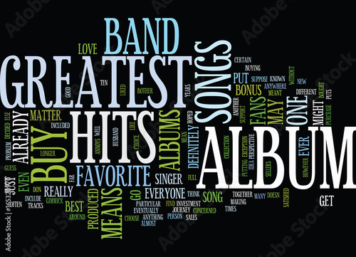 Fotografie, Obraz  GREATEST HITS Text Background Word Cloud Concept