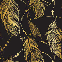 Vector Seamless Pattern With Golden Feathers