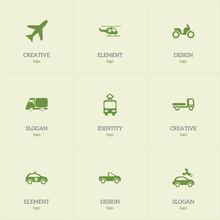Set Of 9 Editable Transportati...