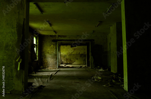 Photo  Large empty green room of the abandoned building with a peel wallpapers