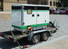 Diesel Generator For Emergency Electric Power. Electric Diesel Generator On The Trailer.