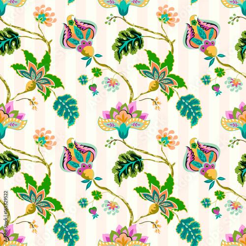 Fotografie, Obraz  Seamless pattern with fantasy flowers