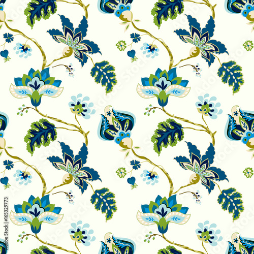 Seamless pattern with fantasy flowers Fototapet