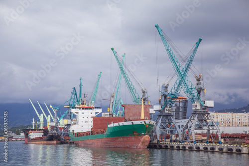 cargo ships in the port