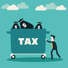 Sad Businessman Pushing Hand Truck With Taxes. Tax Time And Taxpayer Finance Concept