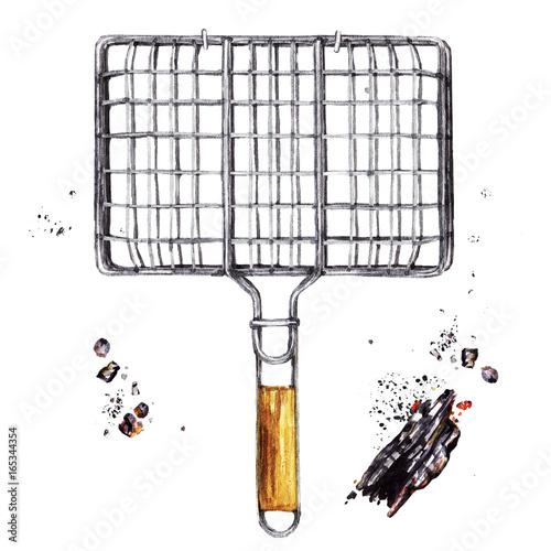 Foto auf AluDibond Vogel in Kafigen Grilling basket. Watercolor Illustration.