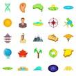 East Asia icons set, cartoon style