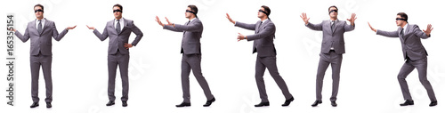 Fototapeta Blindfolded businessman isolated on white