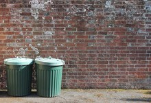 Trash Can Rubbish Dustbin Garbage Outside Brick Wall Background Copy Space Recycle Trash-can Garbage Stock Rubbish Bin Dustbin Trash Can Background Outside Against Brick Wall With Copy Space Backdrop