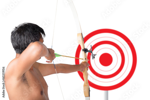 Asian Man Holding Bow And Shooting To Archery Target Rear View Businessman Aiming At
