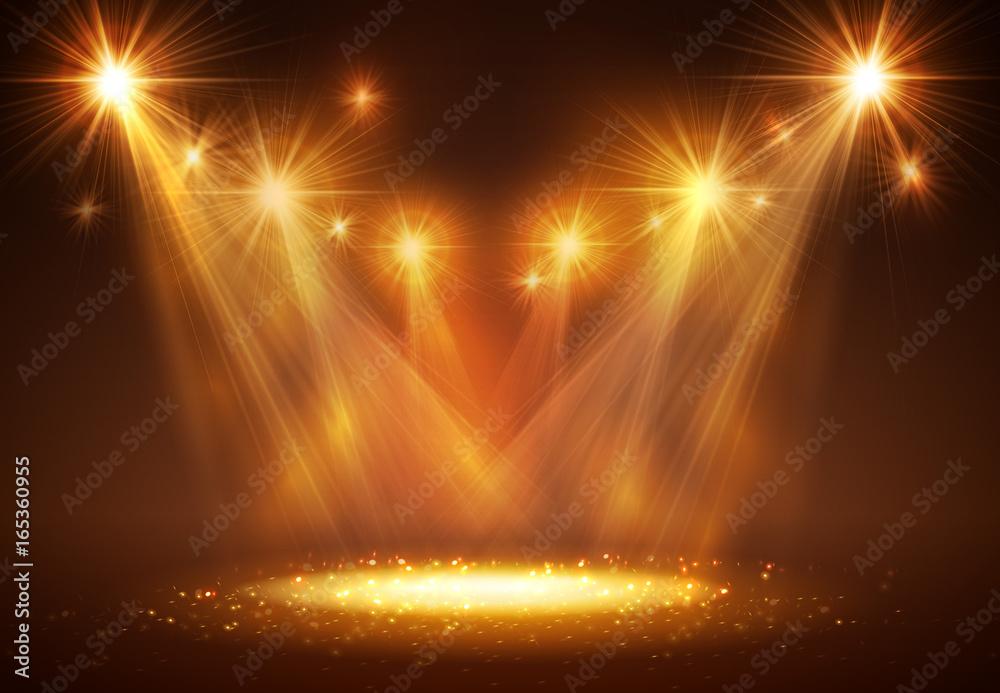 Fototapeta Spotlight on stage with smoke and light.